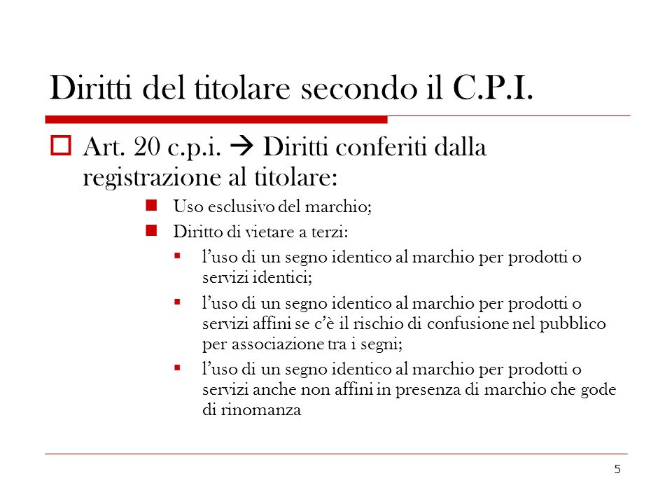 Diritti del titolare secondo il C.P.I.