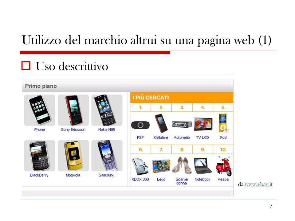 Utilizzo del marchio altrui su una pagina web (1)