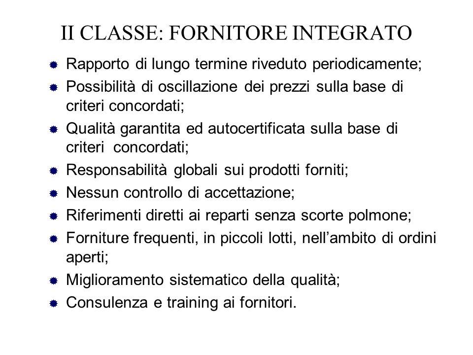 II CLASSE: FORNITORE INTEGRATO