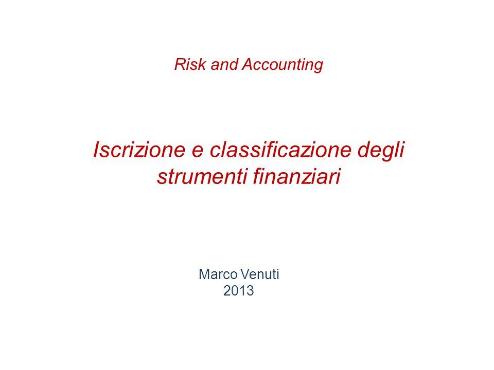 Iscrizione e classificazione degli strumenti finanziari