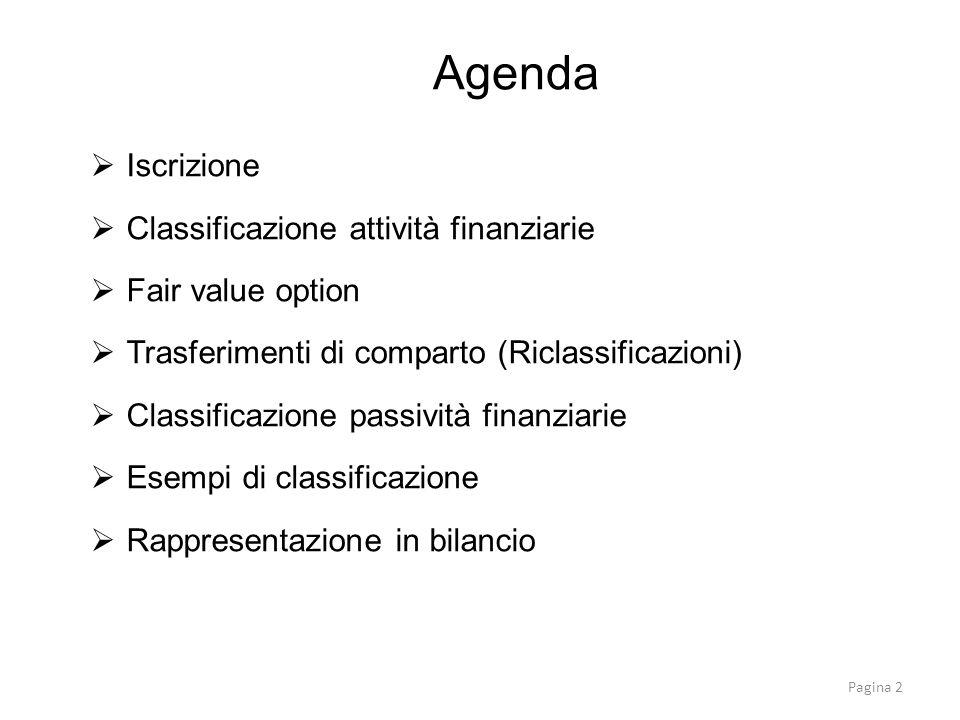 Agenda Iscrizione Classificazione attività finanziarie