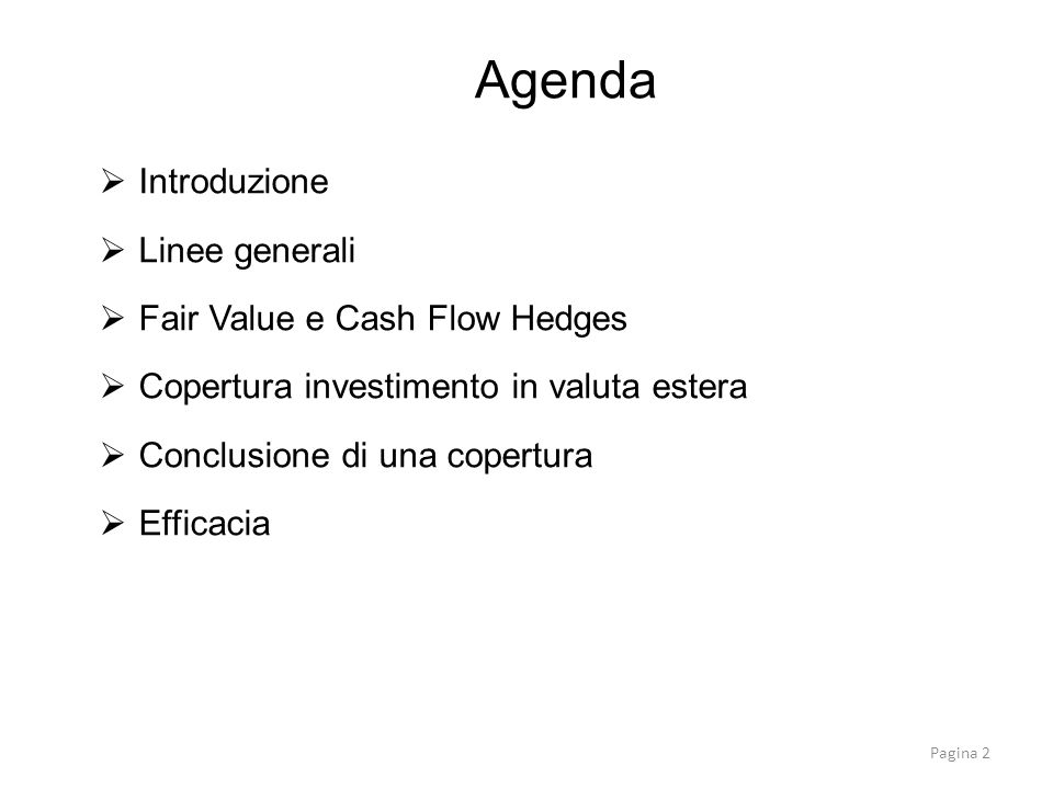Agenda Introduzione Linee generali Fair Value e Cash Flow Hedges