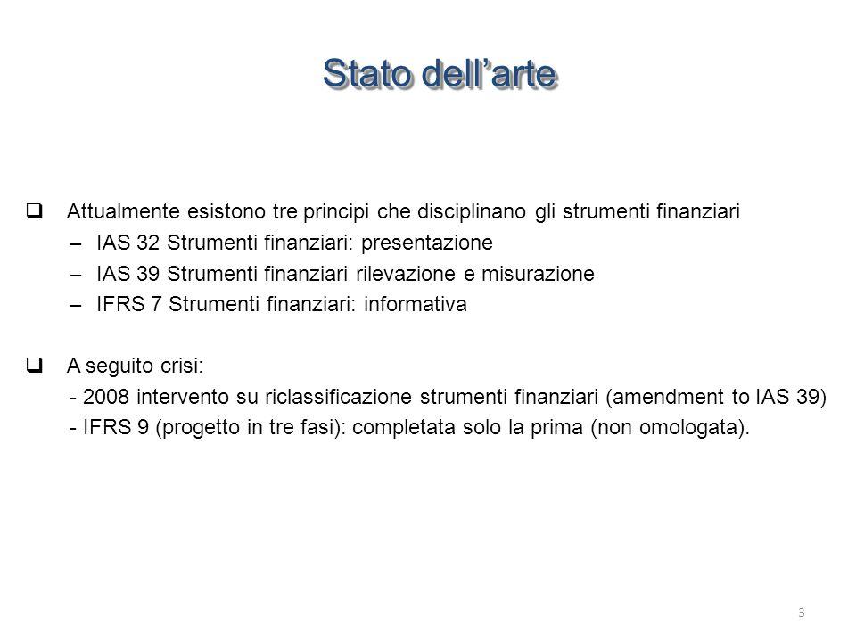 Stato dell'arte Attualmente esistono tre principi che disciplinano gli strumenti finanziari. IAS 32 Strumenti finanziari: presentazione.