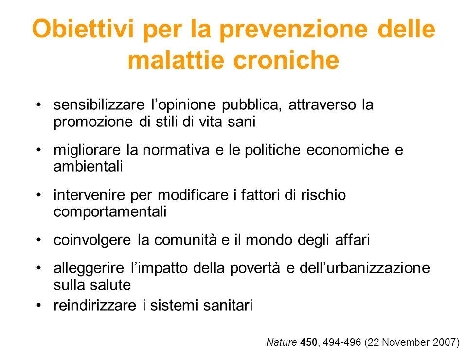 Obiettivi per la prevenzione delle malattie croniche