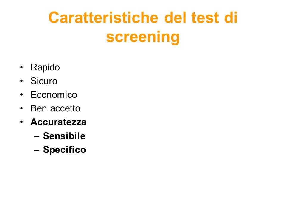 Caratteristiche del test di screening