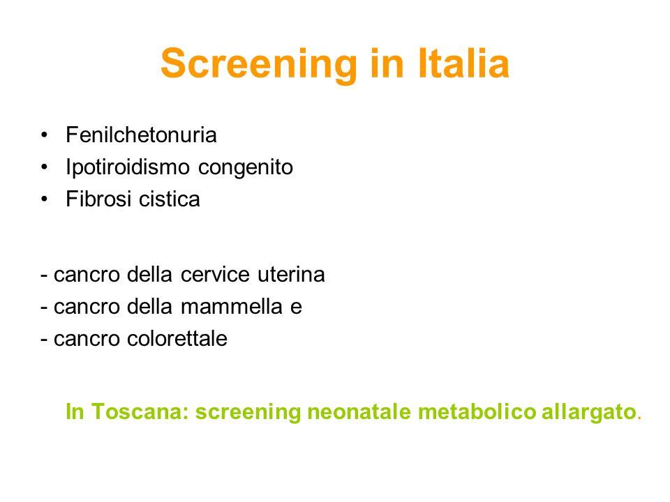 Screening in ItaliaFenilchetonuria. Ipotiroidismo congenito. Fibrosi cistica. - cancro della cervice uterina.