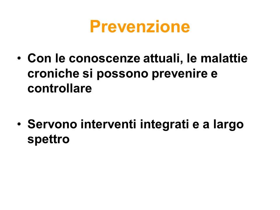 PrevenzioneCon le conoscenze attuali, le malattie croniche si possono prevenire e controllare.