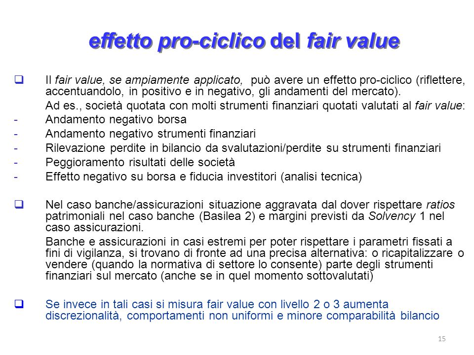 effetto pro-ciclico del fair value