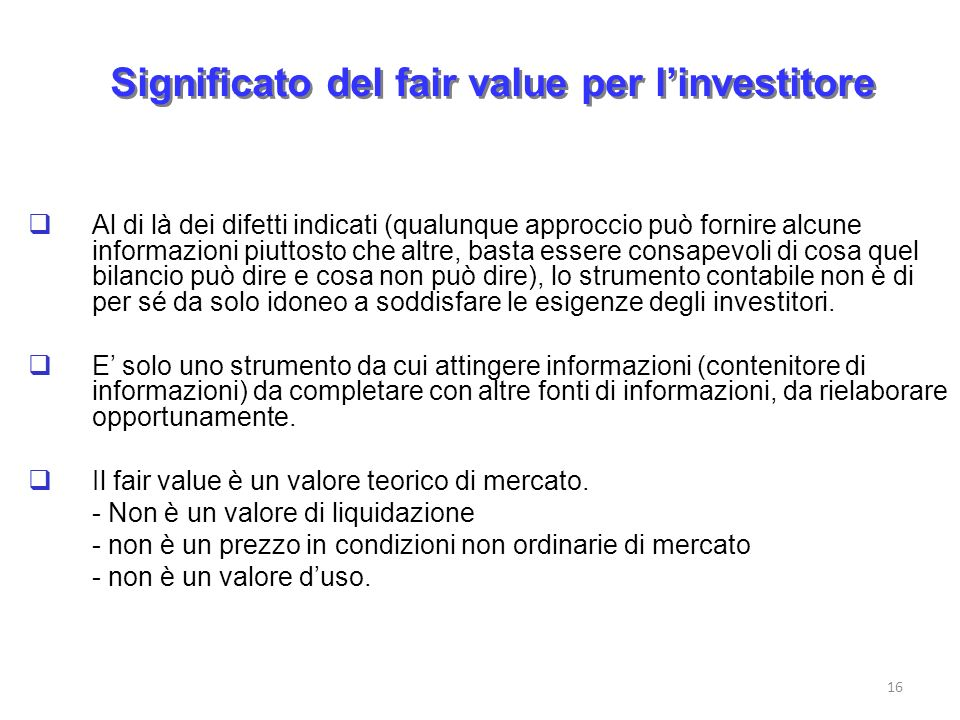 Significato del fair value per l'investitore