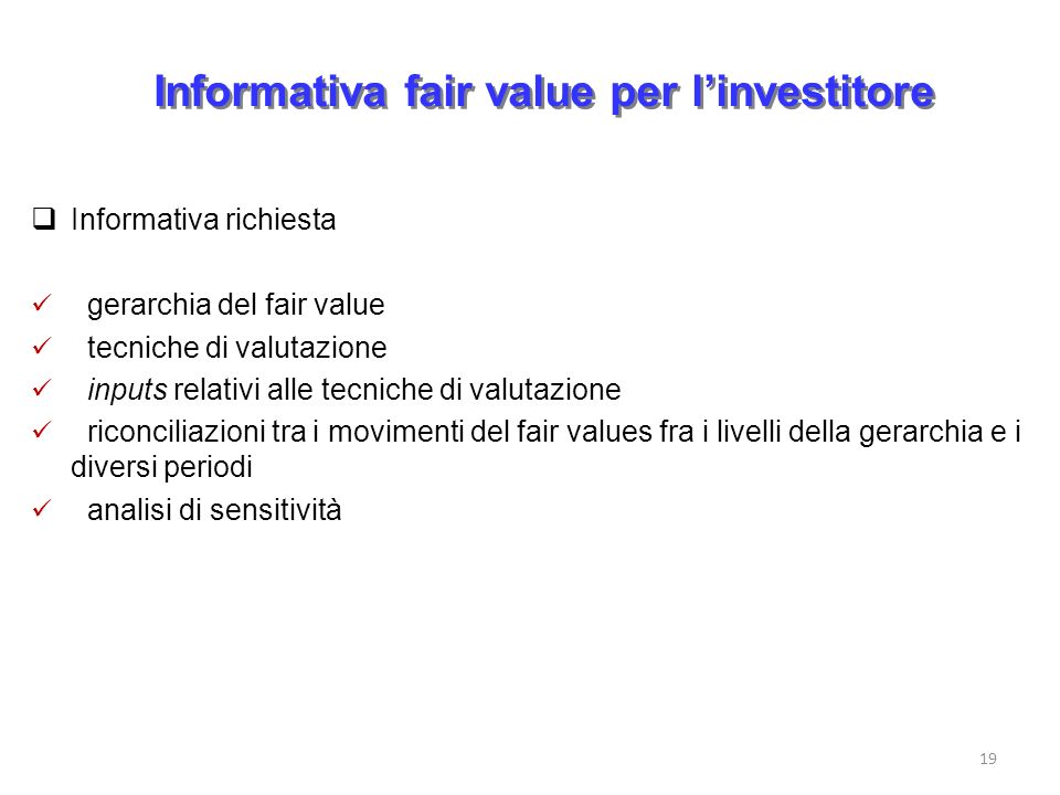 Informativa fair value per l'investitore