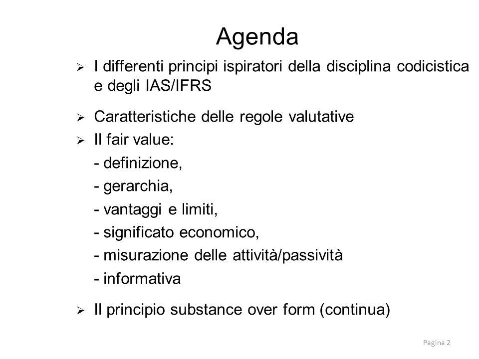 Agenda I differenti principi ispiratori della disciplina codicistica e degli IAS/IFRS. Caratteristiche delle regole valutative.