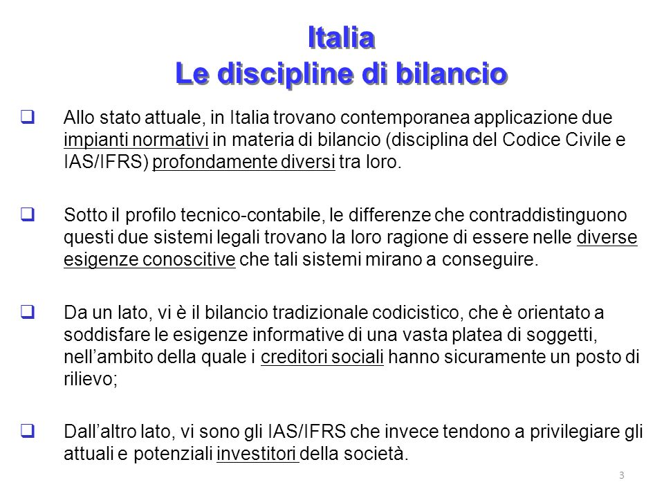 Italia Le discipline di bilancio