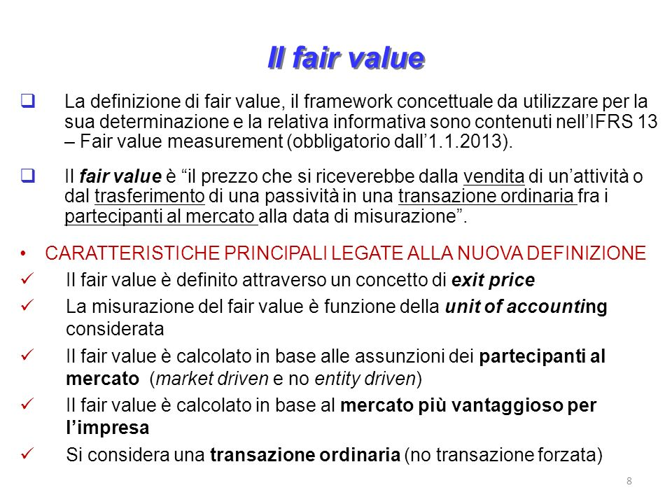 Il fair value