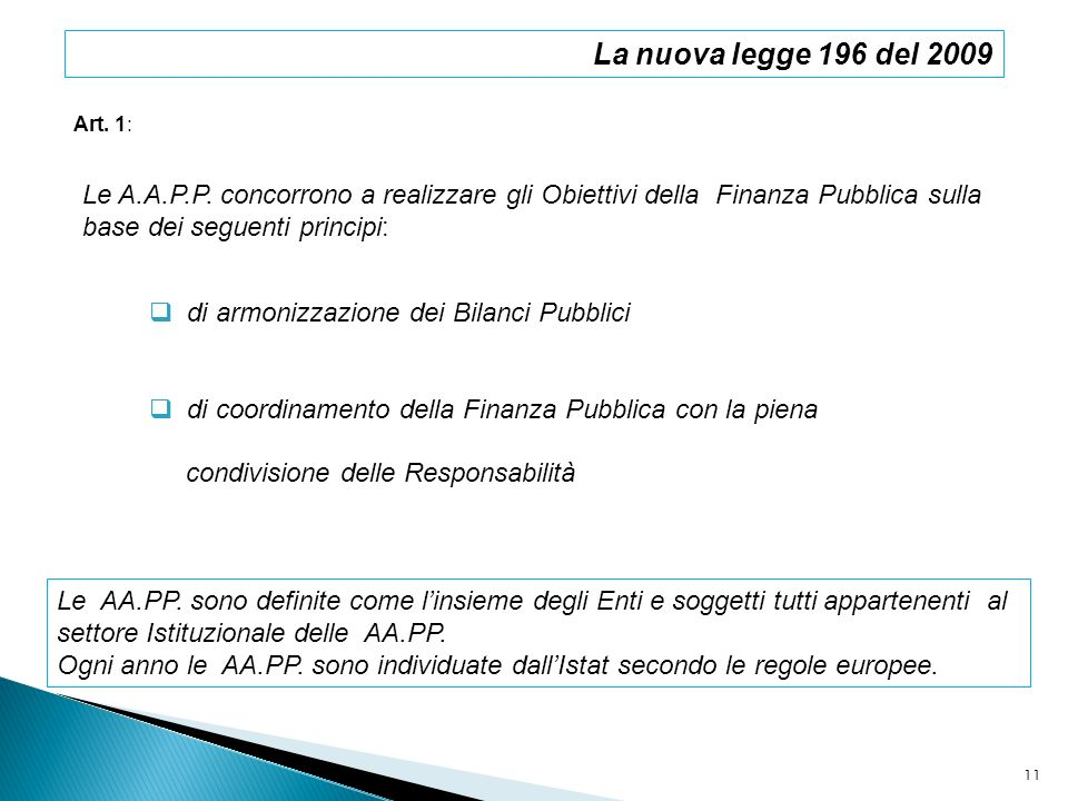 La nuova legge 196 del 2009Art. 1: Le A.A.P.P. concorrono a realizzare gli Obiettivi della Finanza Pubblica sulla.