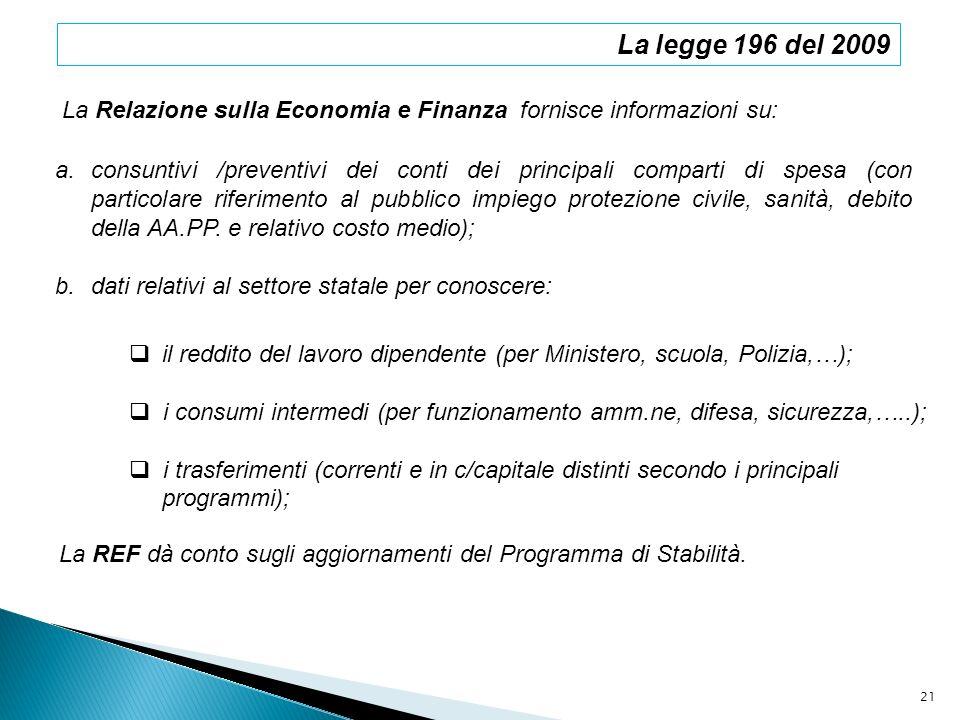 La legge 196 del 2009La Relazione sulla Economia e Finanza fornisce informazioni su: