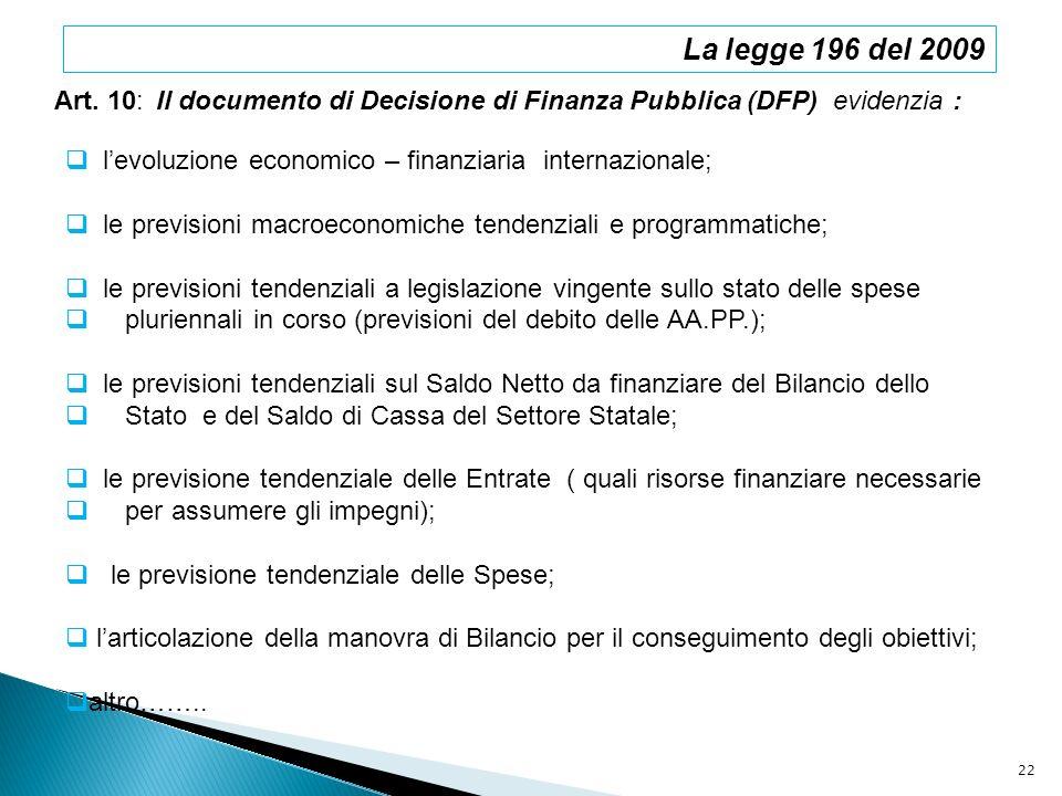 La legge 196 del 2009Art. 10: Il documento di Decisione di Finanza Pubblica (DFP) evidenzia : l'evoluzione economico – finanziaria internazionale;