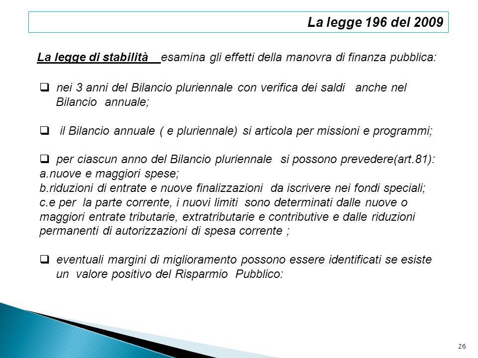 La legge 196 del 2009La legge di stabilità esamina gli effetti della manovra di finanza pubblica: