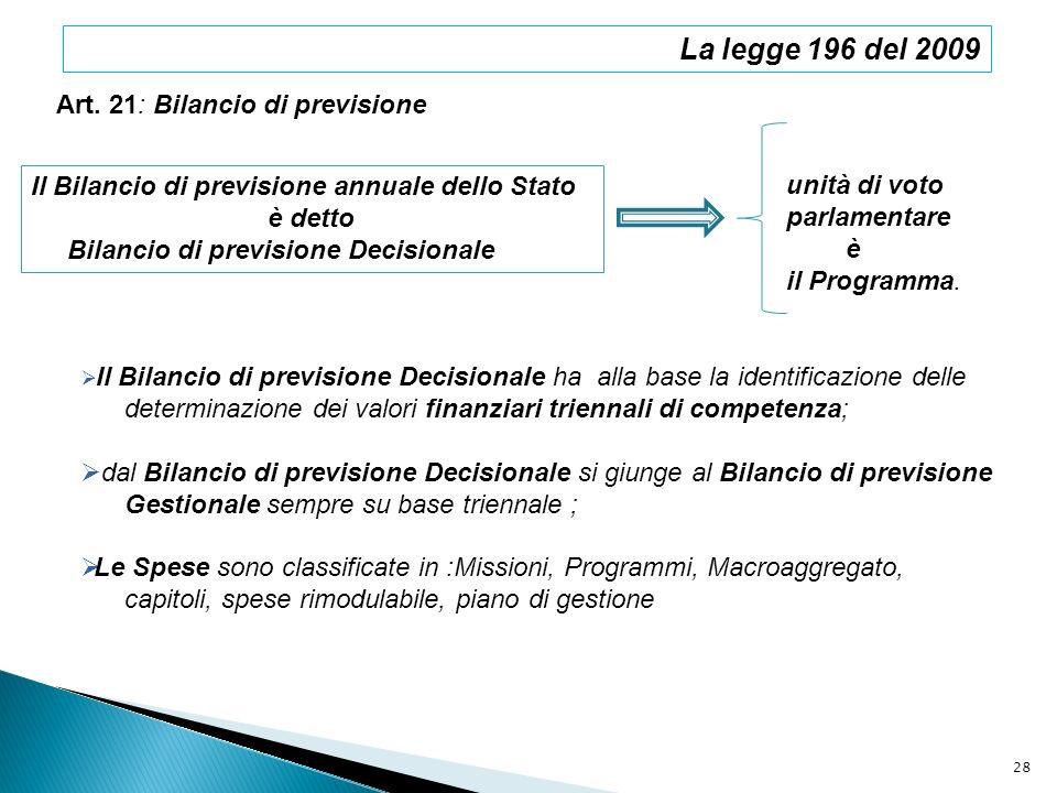 La legge 196 del 2009 Art. 21: Bilancio di previsione