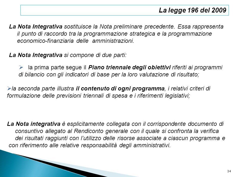 La legge 196 del 2009 La Nota Integrativa sostituisce la Nota preliminare precedente. Essa rappresenta.