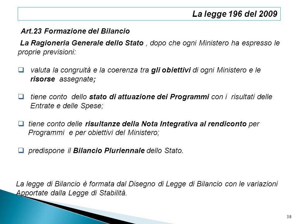 La legge 196 del 2009 Art.23 Formazione del Bilancio