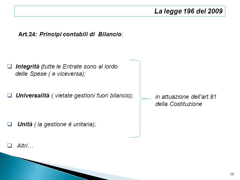 La legge 196 del 2009 Art.24: Principi contabili di Bilancio: