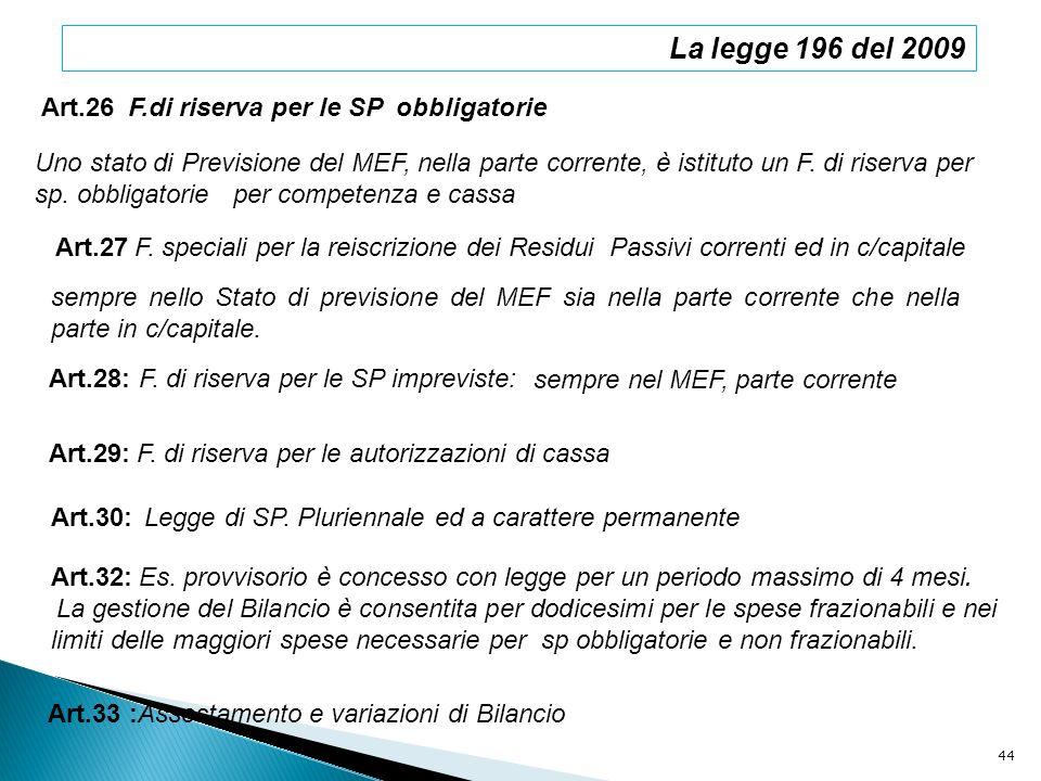 La legge 196 del 2009 Art.26 F.di riserva per le SP obbligatorie