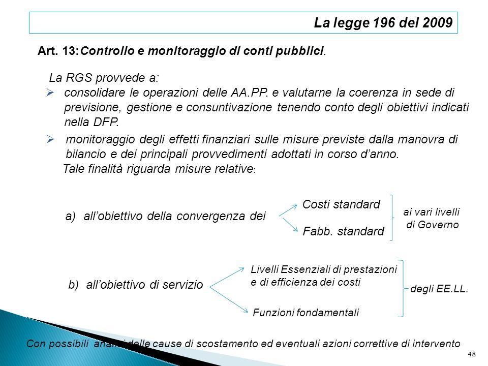 La legge 196 del 2009 Art. 13: Controllo e monitoraggio di conti pubblici. La RGS provvede a: