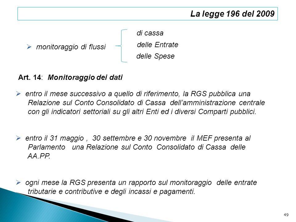 La legge 196 del 2009 di cassa delle Entrate monitoraggio di flussi