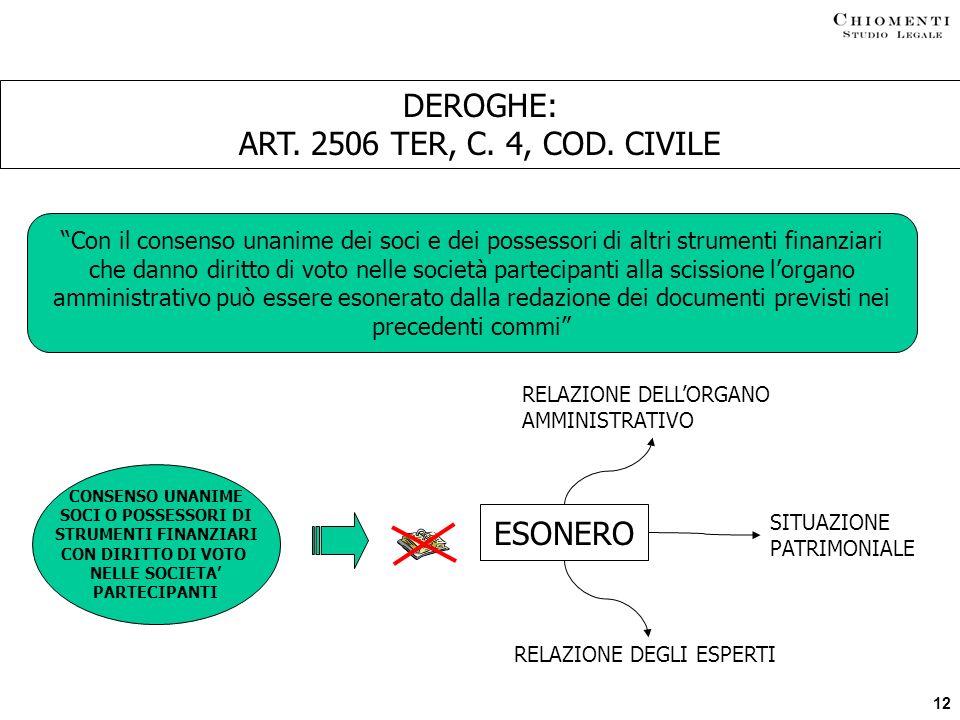 DEROGHE: ART. 2506 TER, C. 4, COD. CIVILE ESONERO