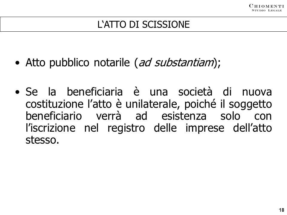 Atto pubblico notarile (ad substantiam);