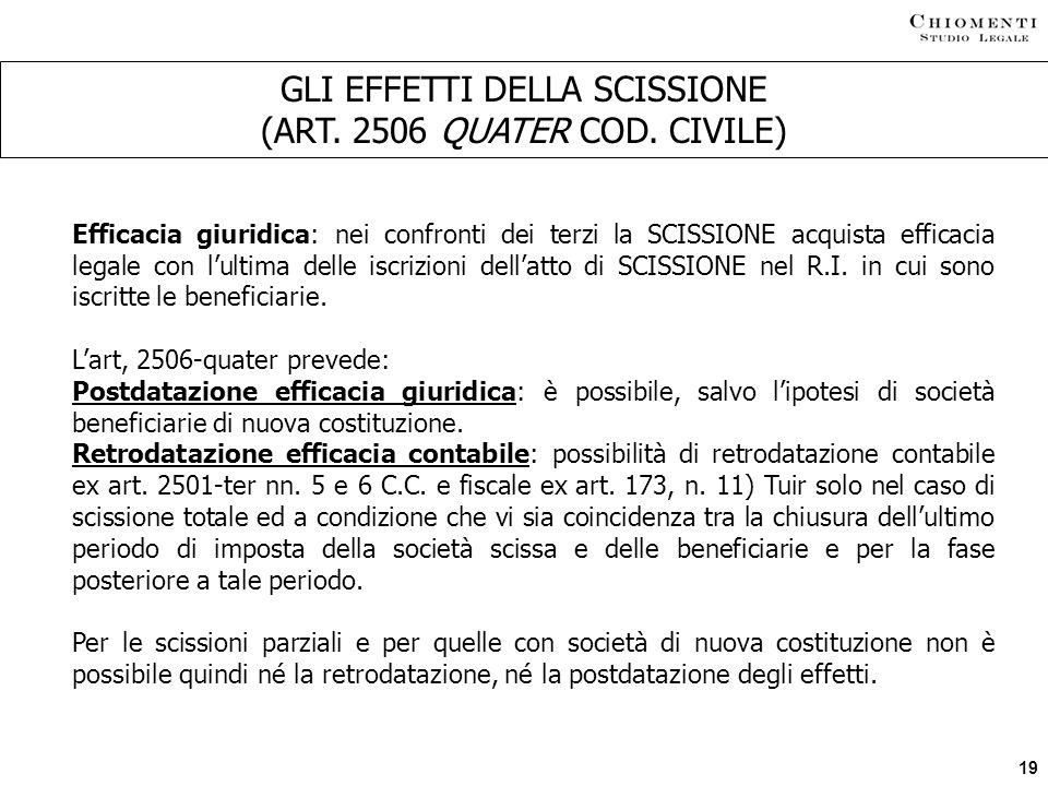GLI EFFETTI DELLA SCISSIONE (ART. 2506 QUATER COD. CIVILE)