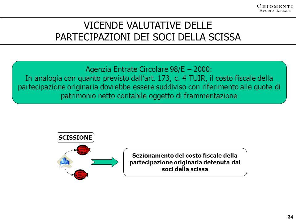 VICENDE VALUTATIVE DELLE PARTECIPAZIONI DEI SOCI DELLA SCISSA