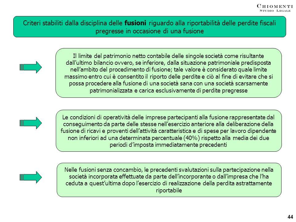 Criteri stabiliti dalla disciplina delle fusioni riguardo alla riportabilità delle perdite fiscali pregresse in occasione di una fusione