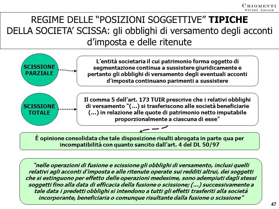 REGIME DELLE POSIZIONI SOGGETTIVE TIPICHE