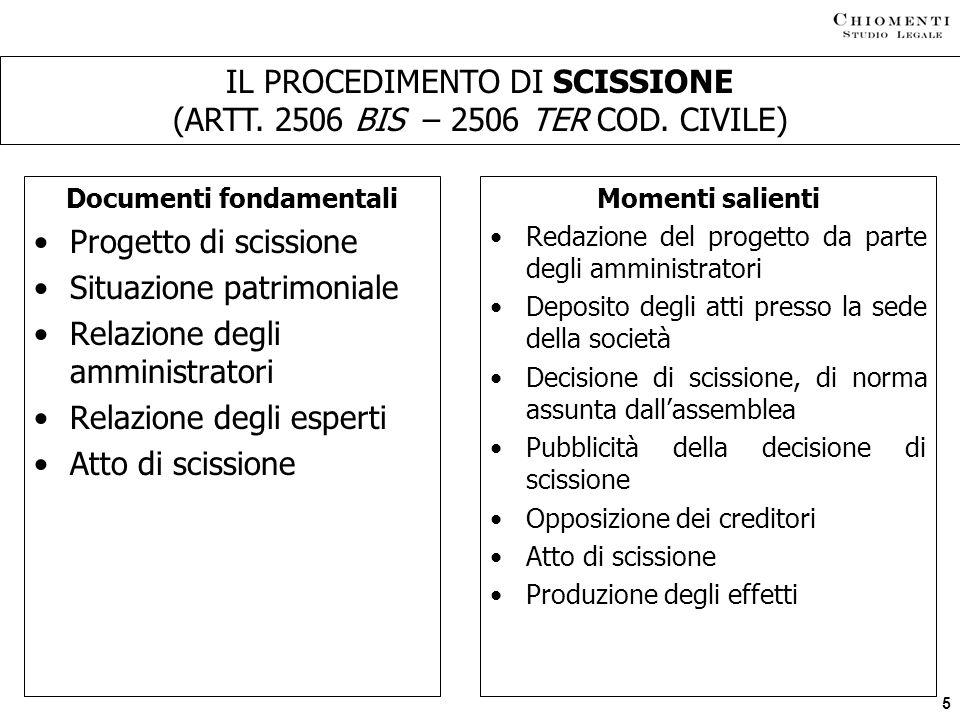 IL PROCEDIMENTO DI SCISSIONE (ARTT. 2506 BIS – 2506 TER COD. CIVILE)