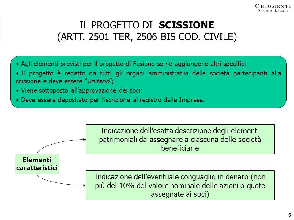 IL PROGETTO DI SCISSIONE (ARTT. 2501 TER, 2506 BIS COD. CIVILE)