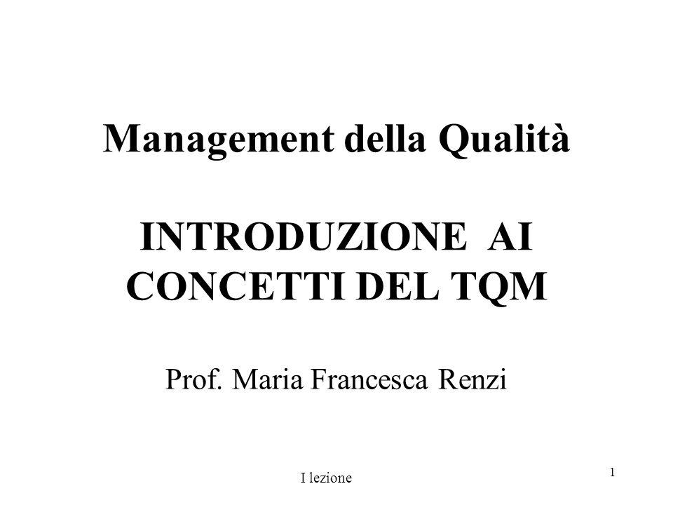 Management della Qualità INTRODUZIONE AI CONCETTI DEL TQM
