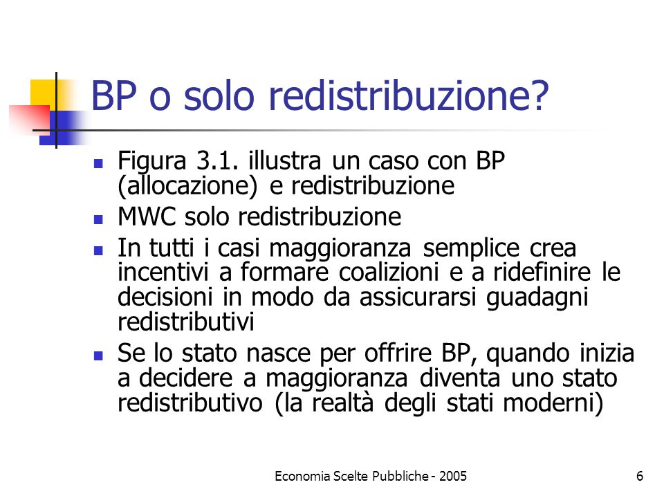 BP o solo redistribuzione