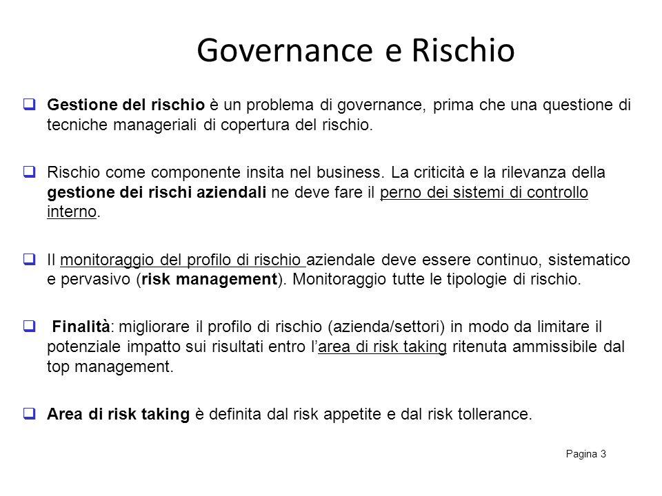 Governance e Rischio Gestione del rischio è un problema di governance, prima che una questione di tecniche manageriali di copertura del rischio.