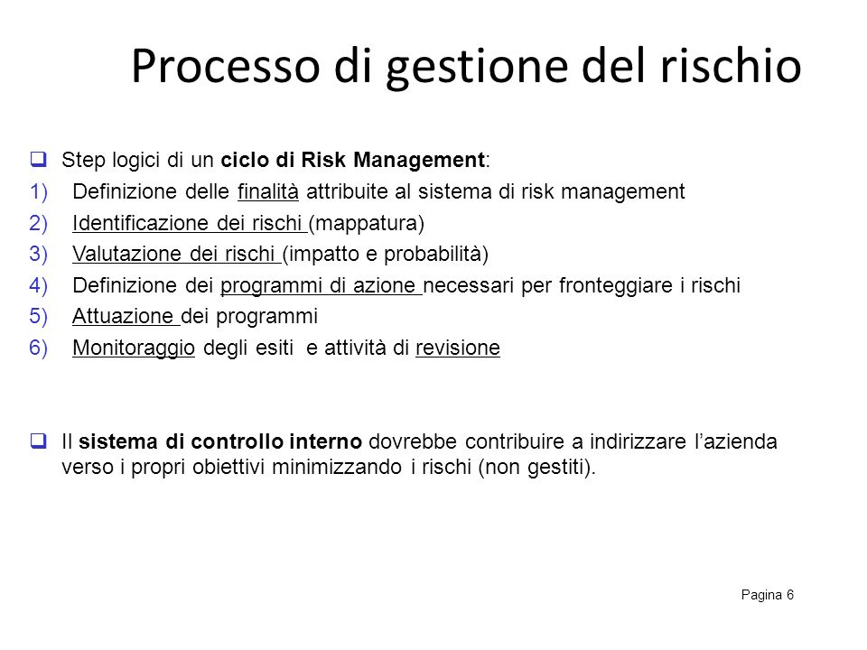 Processo di gestione del rischio