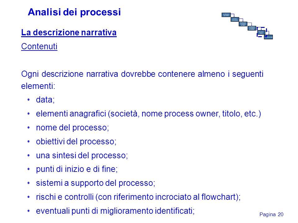 Analisi dei processi La descrizione narrativa Contenuti