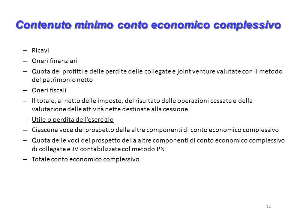 Contenuto minimo conto economico complessivo