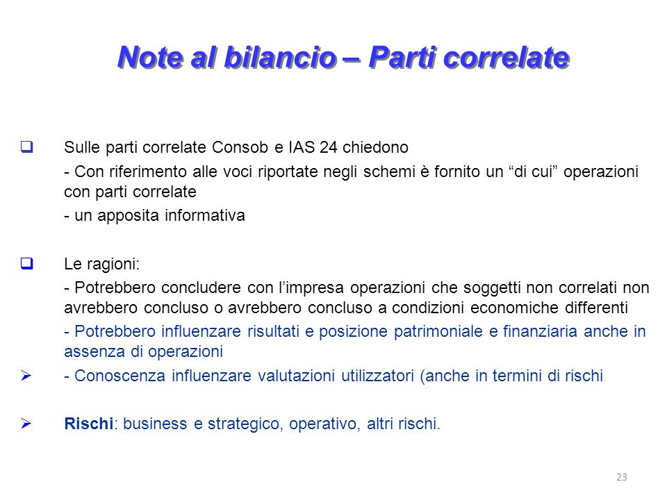 Note al bilancio – Parti correlate