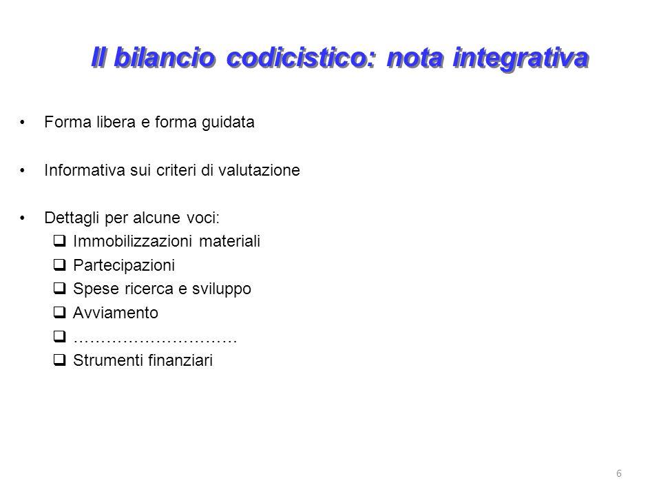 Il bilancio codicistico: nota integrativa