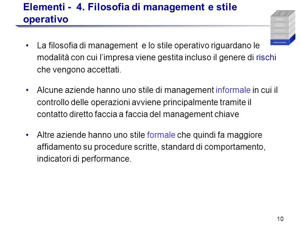 Elementi - 4. Filosofia di management e stile operativo