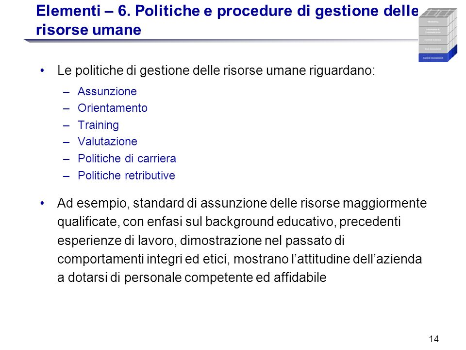 Elementi – 6. Politiche e procedure di gestione delle risorse umane