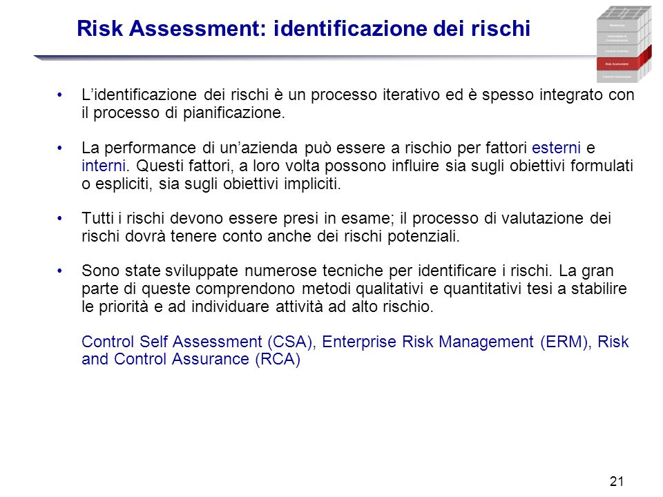 Risk Assessment: identificazione dei rischi