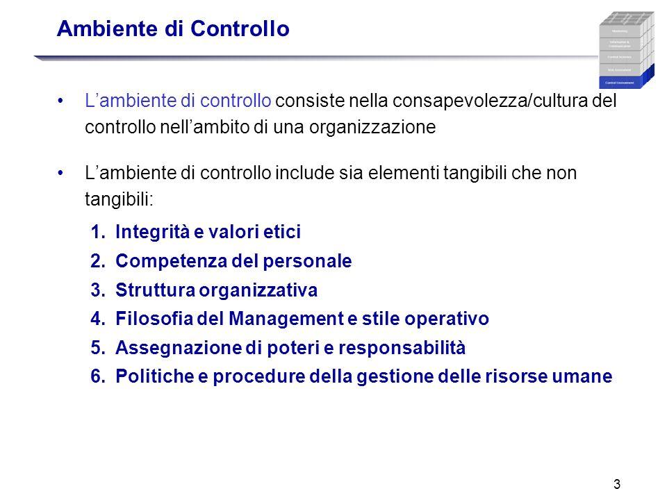Ambiente di Controllo L'ambiente di controllo consiste nella consapevolezza/cultura del controllo nell'ambito di una organizzazione.