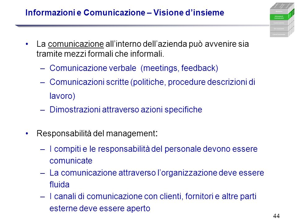 Informazioni e Comunicazione – Visione d'insieme