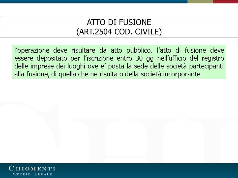 ATTO DI FUSIONE (ART.2504 COD. CIVILE)